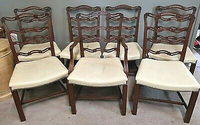 Set of 6 Antique 19th Century Chippendale Ladderback Ribbonback Dining Chairs