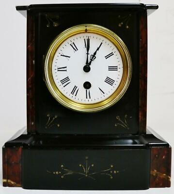 Beautiful Antique French 19thC 8 Day Slate & Red Marble Timepiece Mantel Clock
