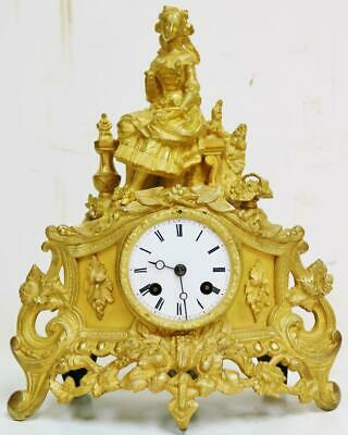 Antique French 8 Day Bell Striking Bronze Ormolu Lady Figurine Mantel Clock
