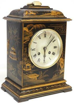 Asprey Antique French Lacquered Chinoiserie Mantel Clock 8 Day Striking Movement