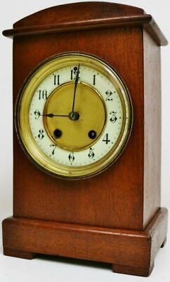 Wonderful Antique HAC 8 Day Carved Solid Mahogany Gong Striking Mantel Clock