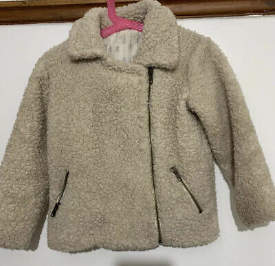ZARA Girls Age 5 yrs Wool type, Shaggy, Sheep Cream jacket, Warm, Free Delivery