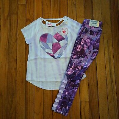 NWT Justice Girls Outfit Flip sequin top/lattice leggings Size 7
