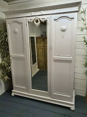 Vintage Painted Victorian Mirrored Wardrobe Shabby Chic CAN ARRANGE COURIER