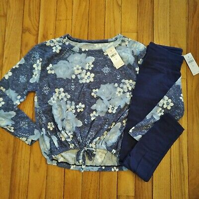 NWT Justice Girls Outfit Floral Soft Top/Navy Leggings Size 7 8 10 12 14 16