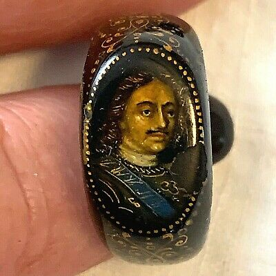 RARE Anitque Victorian Hand Painted Portrait Dracula Gold Ebony Ring