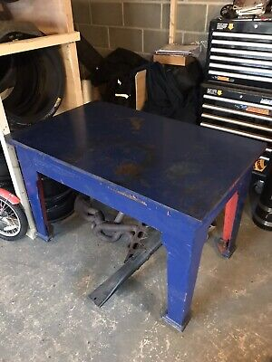 Vintage Cast Iron Steel Engineers Bench Table Industrial Welding