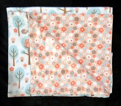 SL Home Fashions Owls Flowers Trees Pink Baby Blanket