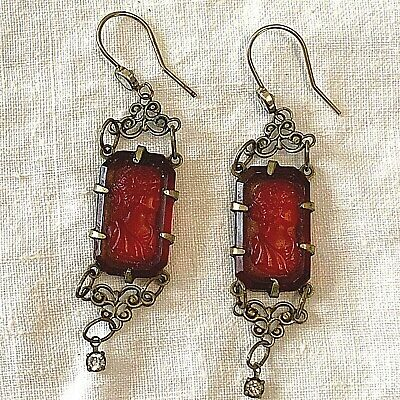 Antique Victorian Ruby Glass Cameo Drop Earrings Markers Mark