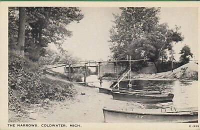 Vintage Antique Michigan MI RPPC  Postcard The Narrows Canoes on Lake Coldwater