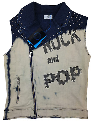 NEW Young Versace RRP £279 Kids Girls Childrens Distressed Stud Jacket A203