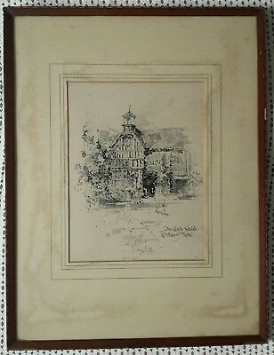 Antique Etching The Clock Gable Ightham Mote, Sevenoaks, Kent Framed