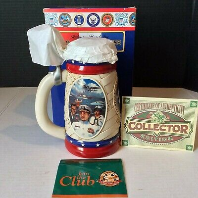 Anheuser-busch armed forces series NAVY stein NEW in box w/COA '02 collector ed.
