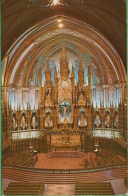Vintage Postcard Canada Canadian Main Altar Notre Dame Church Montreal 1973