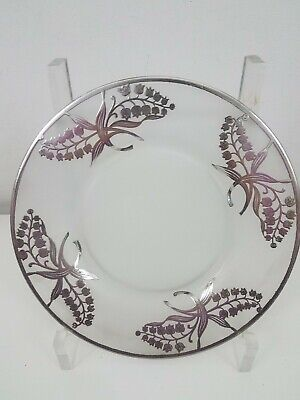 Art Noveau Decorative Plate Floral Overlay Sterling Silver Lilly Of The Valley