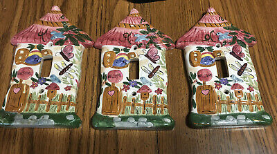 Single Light Switch Plate Cover House Ceramic Lot Of 3 Bird House