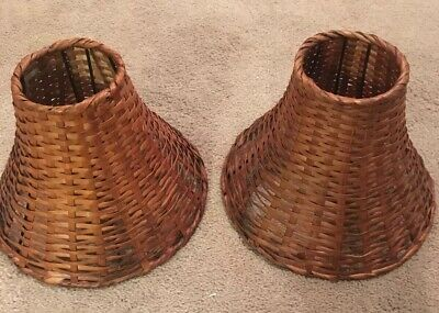 Vintage Wood Mid Century Basket Woven Lamp Shade Natural Wicker