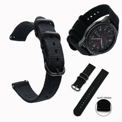 Black Military Woven Nylon Canvas Fabric Band Strap 20 22mm With Quick Release