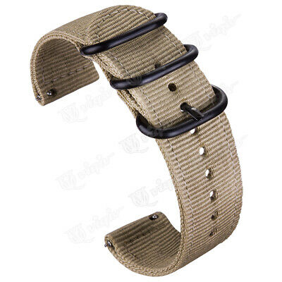 Khaki Military Woven Nylon Canvas Fabric Band Strap 20 22mm With Quick Release