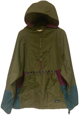 Vintage LL Bean Aztec Pullover Anorak olive *Unisex Size Large 90s Hiking Gear