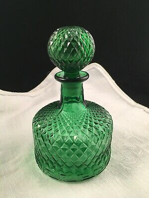 Vtg Whisky Decanter Emerald Green Diamond Pattern Glass w/Lg Round Stopper MCM