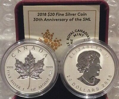 2018 30th Anniversary Silver Maple Leaf SML $20 1OZ Silver Proof Coin Canada