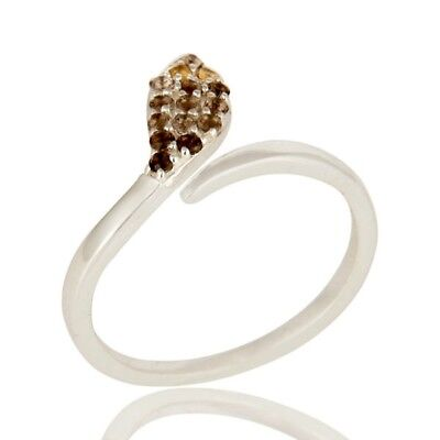 Smoky Quartz Citrine 925 Sterling Silver Ring Snake Design Gemstone Jewelry
