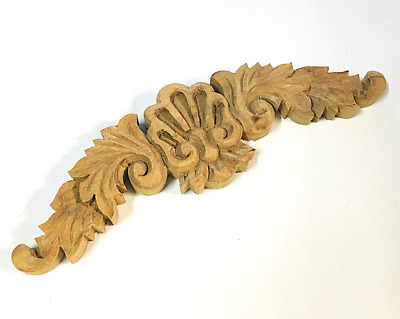 """9.75"""" New Hand craved Wood Furniture Topper Pediment Finial Architectural Vintag"""
