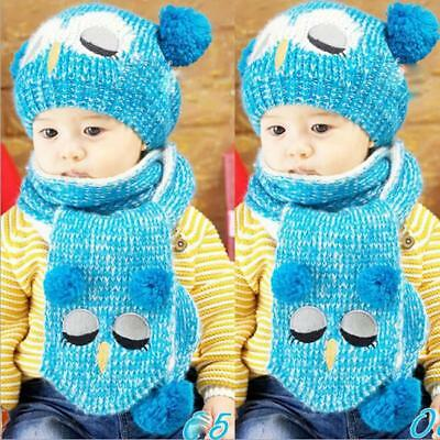 Kid Baby Girl Boy Toddler Winter Warm Knitted Beanie Hat Caps Earmuffs Ball YI