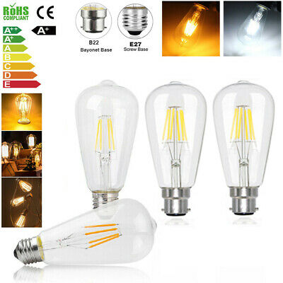 LED E27 B22 Edison Filament Bulb Light Retro Vintage Screw Globe Lamp 4/6/8W