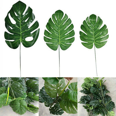 tropical home decor uk 12 24pcs artificial tropical palm leaves plastic silk fake leaves  tropical palm leaves plastic silk fake