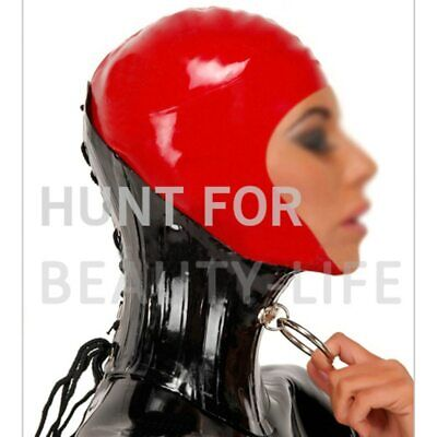 Latex Neck Corset with Metal Ring Half Cover Hood Mask Fetish Sexy Hats Bondage