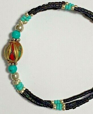 Medieval Bracelet Silver - Turquoise Stones, 1 Bead Gold Plated - Rare