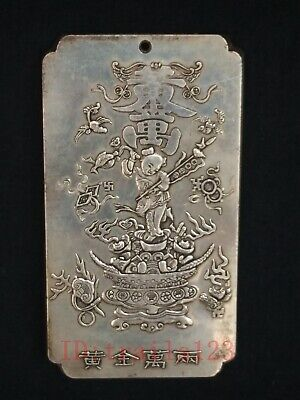 Old Collection China Copper Silver Carving Treasure Boy Statue Pendant Thangka