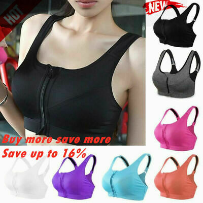 Women's Girl High Impact Front Zip Wireless Padded Bra Gym Sports Cup Tank N3N2