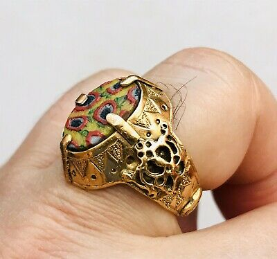 Ancient ROMAN Gold Ring Millefiori Glass High Carat 22ct 18ct