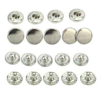 50pcs/Lot 10mm Silver Tone Metal No Sewing Snap Press Studs Buttons Fasteners…