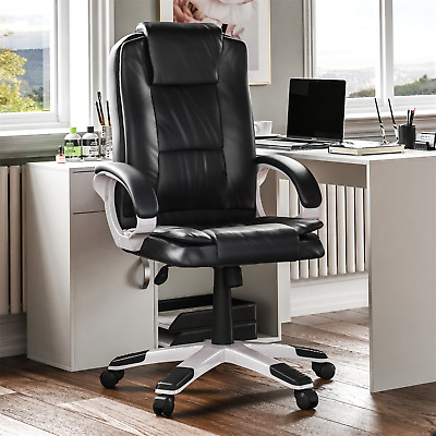 Executive Office Chair Computer Gaming Home Swivel Adjustable Leather Black