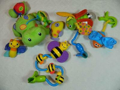Lot 4 pc Bright Starts Sassy Busy Bee Firefly Stroller Clip On Baby Infant Toys
