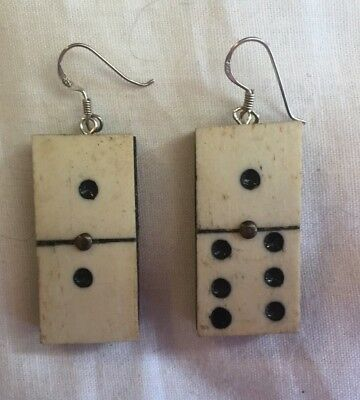 Antique Bone and Wood Domino Earrings with Sterling Silver Hooks