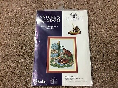 Point Of Interest - Otters New Sealed Anchor Counted Cross Stitch Kit