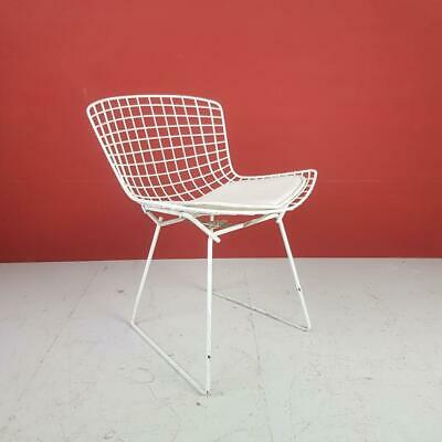 VINTAGE HARRY BERTOIA WHITE POWDER COATED SIDE DINING CHAIR MIDCENTURY #2772b