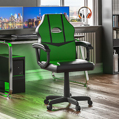 Racing Gaming Office Chair Computer Swivel Leather Executive Wheels Green Black