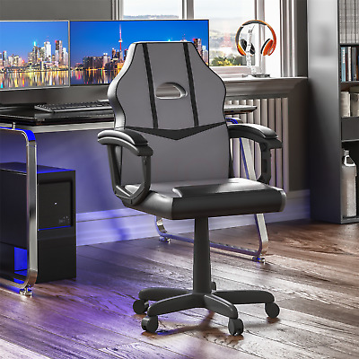 Racing Gaming Office Chair Computer Swivel Leather Executive Wheels Grey Black