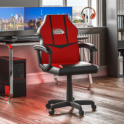 Racing Gaming Office Chair Computer Swivel Leather Executive Wheels Red Black