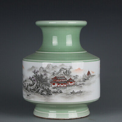 Chinese Fine Antique marked Porcelain famille rose landscape Scenery Vase 11""