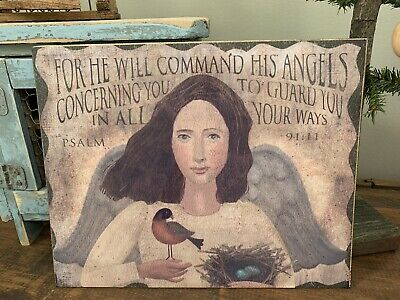 Folk Art Primitive Angel With Psalm 91:11 On 8x10 Canvas