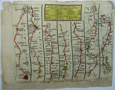 Antique Road Map of York to Manchester by Thomas Kitchin 1767