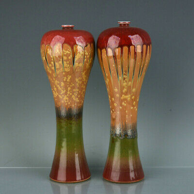 """Chinese Fine Porcelain qianlong marked pair fambe Hand painting Pulm vase 12.2"""""""