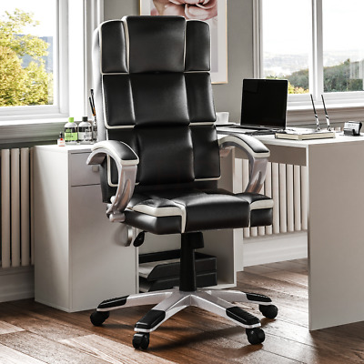 Executive Office Chair Computer Home Leather Gaming Swivel Wheels Adjustable